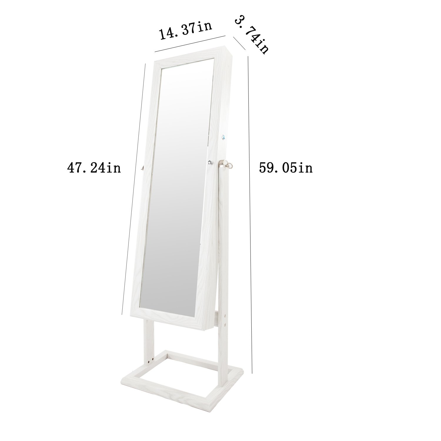 Bonnlo Jewelry Armoire Square Stand with 4 Adjustable Angle Tilting, Well Packed by styrofoam & Stiffer Covering, Lockable Heavy Duty Bedroom Make up Mirror Cabinet Organizer Closet by Bonnlo (Image #7)