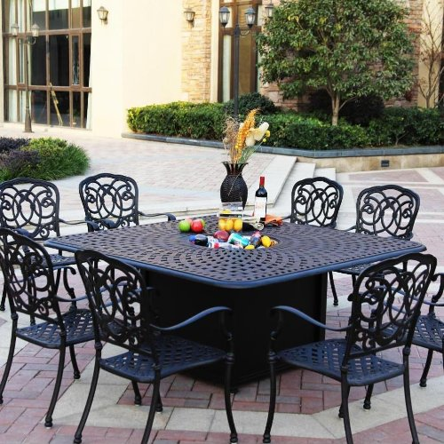 Darlee Florence 9 Piece Cast Aluminum Patio Fire Pit Dining Set - Dining Table With Ice Bucket Insert - Mocha -