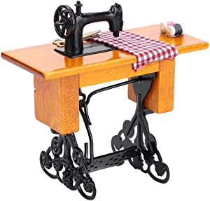 Boquite 1:12 Scale Model Dollhouse Miniature Furniture Wooden Sewing Machine for Dolls House Accessory Decor Toy