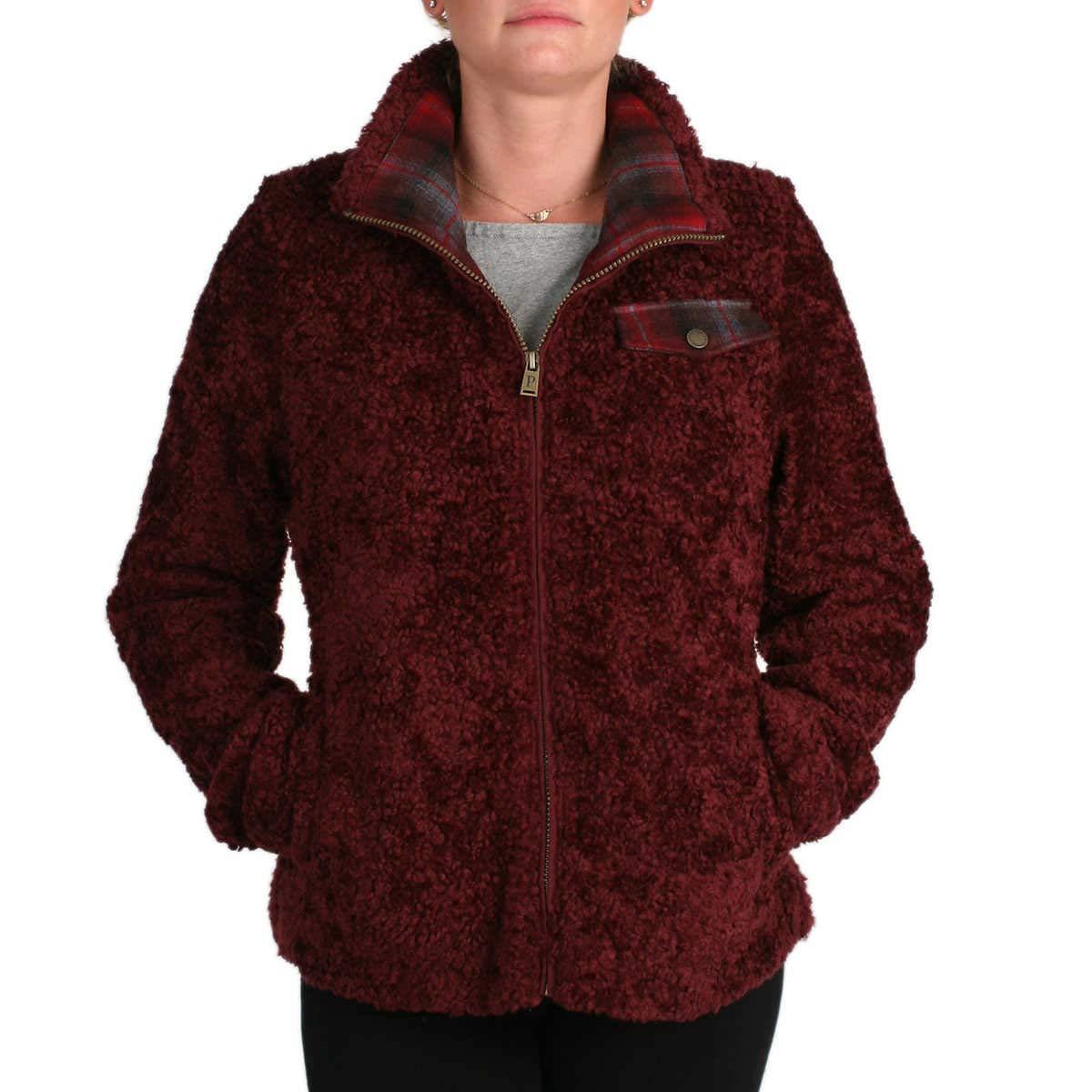 Dark Red Pendleton Ladies' Fuzzy Zip Jacket
