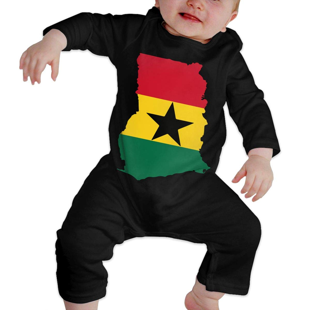 A1BY-5US Infant Baby Girls Cotton Long Sleeve Ghana Flag 1 Baby Clothes Funny Printed Romper Clothes