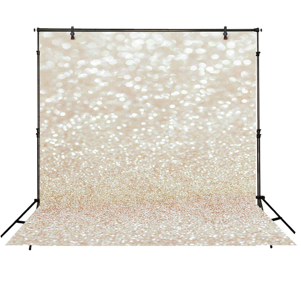 Funnytree 8X8ft Bokeh Golden Spots Backdrops for Photography Shinning Sparkle (Not Glitter) Sand Scale Background Professional Easter Wedding Bridal Shower Newborn Baby Portrait Photo Studio Prop
