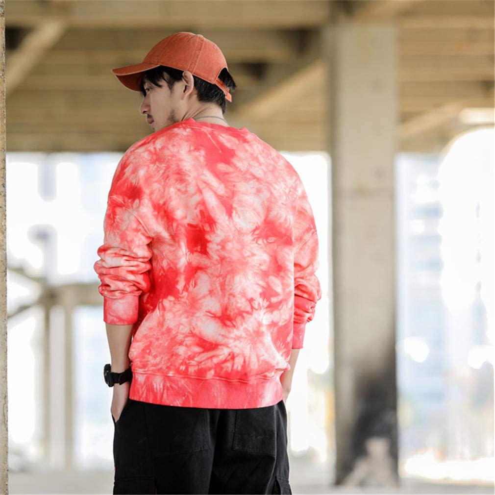Usopu Mens Street Chic Casual//Daily Tie-Dye Letter Round Neck Sweatshirt Loose
