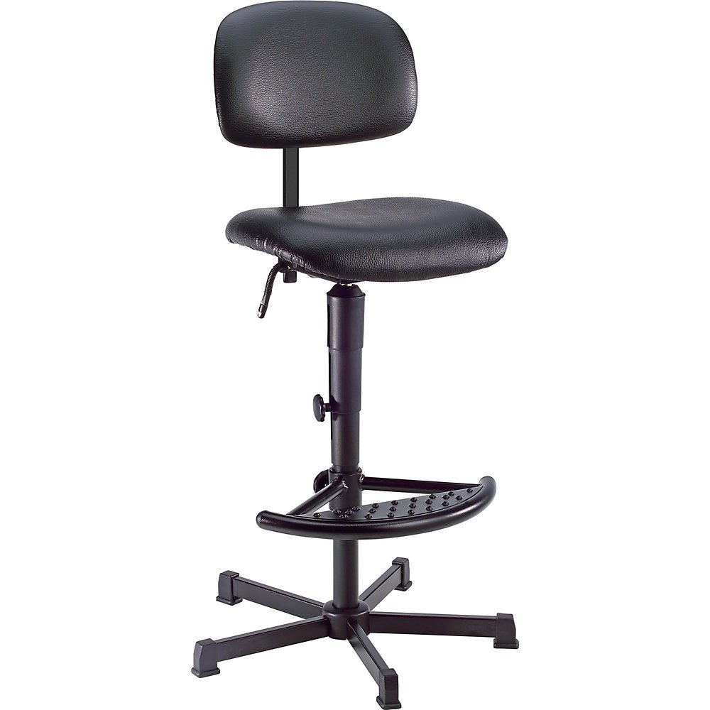 Industrial swivel chair with vinyl cover with floor glides