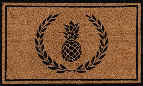 Erin Gates by Momeni Park Pineapple Black Hand Woven Natural Coir Doormat 1 6 X 2 6 , Model Number