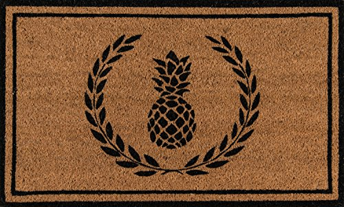 (Erin Gates by Momeni Park Pineapple Black Hand Woven Natural Coir Doormat 1'6
