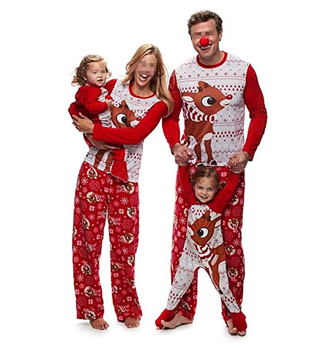 CHRONSTYLE Pijamas Dos Piezas Familiares de Navidad, Conjuntos Navideños de Algodón para Mujeres Hombres Niño Bebé, Ropa para Dormir Otoño Invierno Sudadera ...