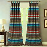 Finely Stitched Window Treatments Tab Top Curtains Panels Lined Boho Chic Bohemian Geometric Chevron Stripe Floral Design Dark Blue Red - 84 inch Length Long Pair Set of 2- Includes Bed Sheet Straps