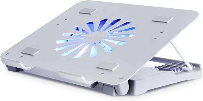 Femor Laptop Cooling Pad, Aluminum Laptop Cooler for 12-15.6 Inch Gaming Office Laptop with Cooling Fan, Blue LED Light, Dual USB Ports, Silver