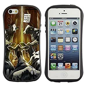 Hybrid Anti-Shock Bumper Case for Apple iPhone 5 5S / Cows In Barn