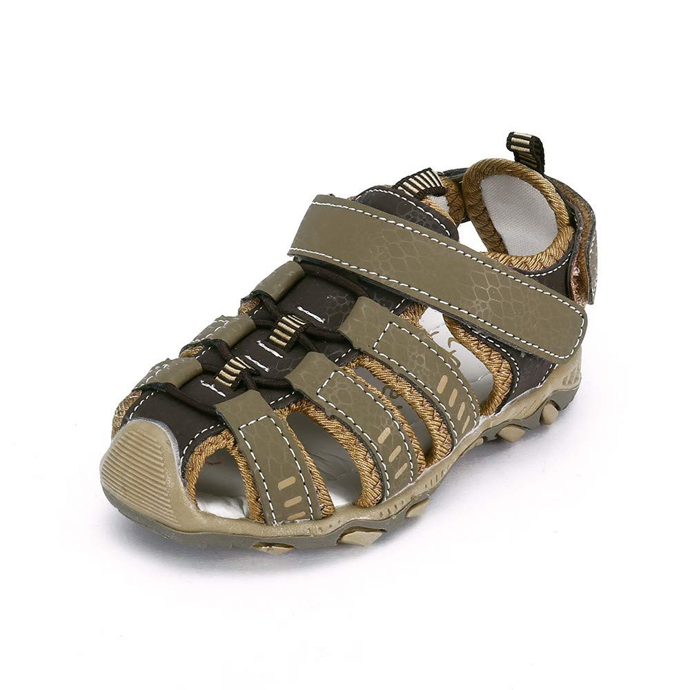 Respctful✿Baby Water Sandals for Boy Anti Slip Beach Outdoor Summer Shoes ler Breathable Athletic Closed-Toe Shoes Brown