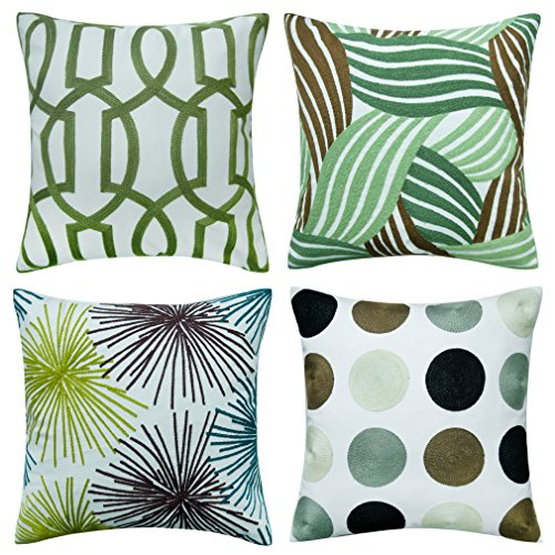 Shinnwa 4 Pcs Cotton Linen EMBROIDERY Decorative Throw Pillow Case Cushion Covers Assorted Designs for Sofa 18