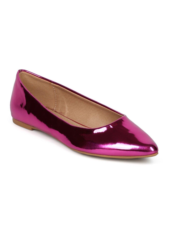 Alrisco Women Mirror Metallic Pointy Toe Ballet Flat HC11 B072YDX5VS 8.5 M US|Fuchsia Metallic