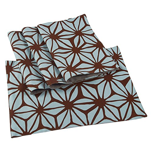Juvale 4-Pack Cloth Placemats Set – Dining Table Mats with Floral Print for Kitchen, Dining Table Decor, Brown and Teal, 18 x 13 inches