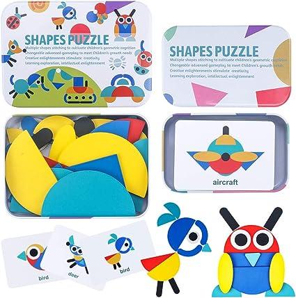 Wooden Cartoon Deer Blocks Toddler Baby Kids Children Educational Toy Puzzle