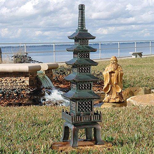Design Toscano The Nara Temple Pagoda Asian Decor Garden Statue, Large 28 Inch, Polyresin, Verdigris Green -