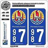 2 Stickers de plaque d'immatriculation auto 987 Polynésie Française - Armoiries