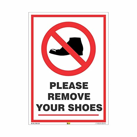 picture about Please Remove Your Shoes Sign Printable Free titled Mr. Risk-free Eliminate YOUR Footwear Listed here Indication Poster Sunboard A4