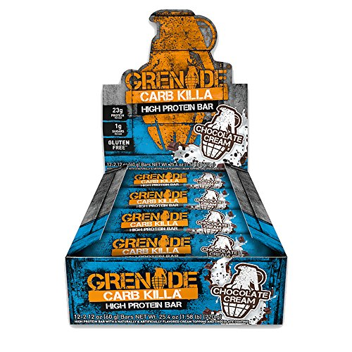 Grenade Carb Killa Protein Chocolate Bar | 23g High Protein Snack | Keto Friendly Low Net Carb Low Sugar | Gluten Free Nut Free Energy Bars | Chocolate Cream, 12 -