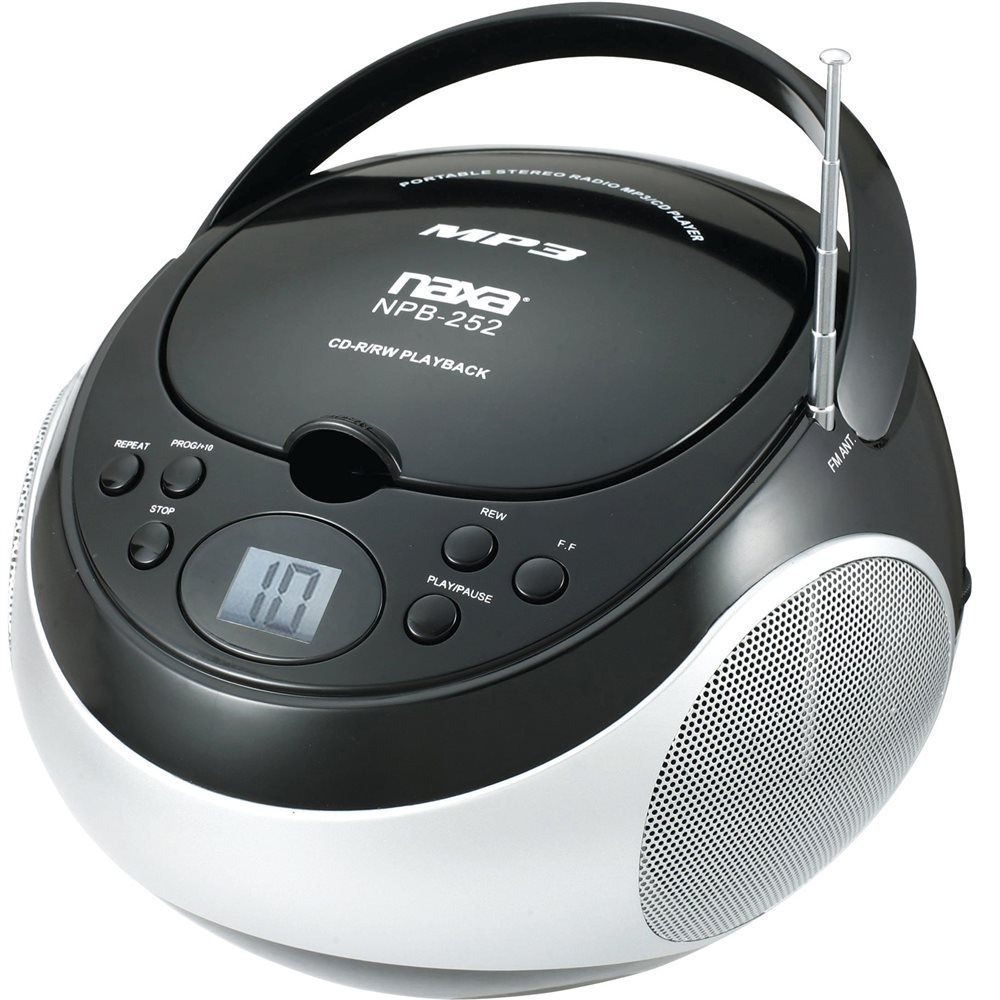 PORTABLE NAXA MP3/CD PLAYER with AM/FM STEREO RADIO BLACK ...