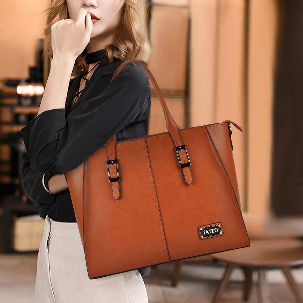 IAITU Laptop Tote Bag,15.6 Inch Crossbody Laptop Bag Casual Work Business Handbag with Smooth Zipper for Women(Brown) by IAITU (Image #1)