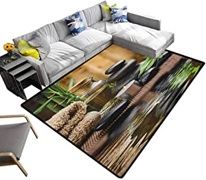 "Spa Large Carpet Zen Massage Stone Triplets with Herbal Oil and Scent Candles Print for Dining Room Living Room Home Decoration Black Brown and White (4'7""x5'2"")"