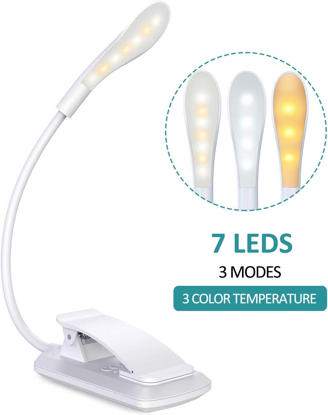 Cocoda Luz Lectura, Lampara Lectura de 360° Flexible con 3 Modos, 7 LED Lampara Pinza Brillo Ajustable con USB Recargable, Sensor Táctil, Luz Nocturna para Leer Libros en la Cama, Kindle (Blanco)