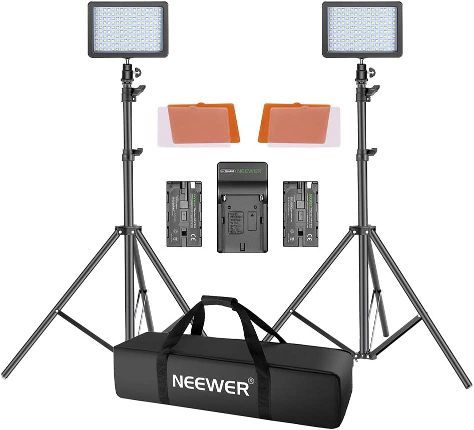 Neewer Kit Luz Video LED, 2 Packs Luz Regulable 3200K 6000K 160 SMD Panel Luz LED con Soporte Luz 1,9m Kit Iluminación Fotografía Grabación Video, Estuche Grande/Cargador/Batería Incluida