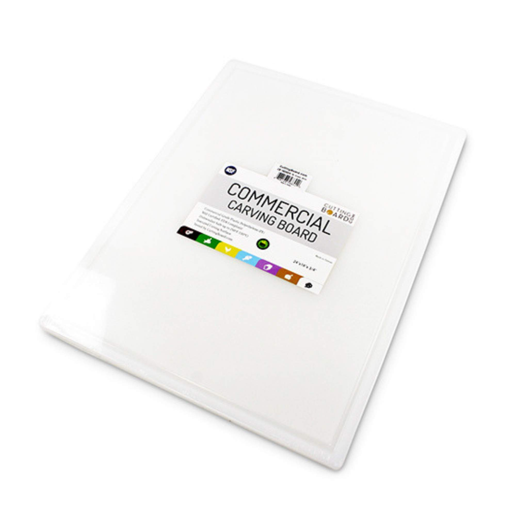 Commercial Plastic Carving Board with Groove, NSF Certified, HDPE Poly, 24 x 18 x 0.75 Inch, White by Thirteen Chefs