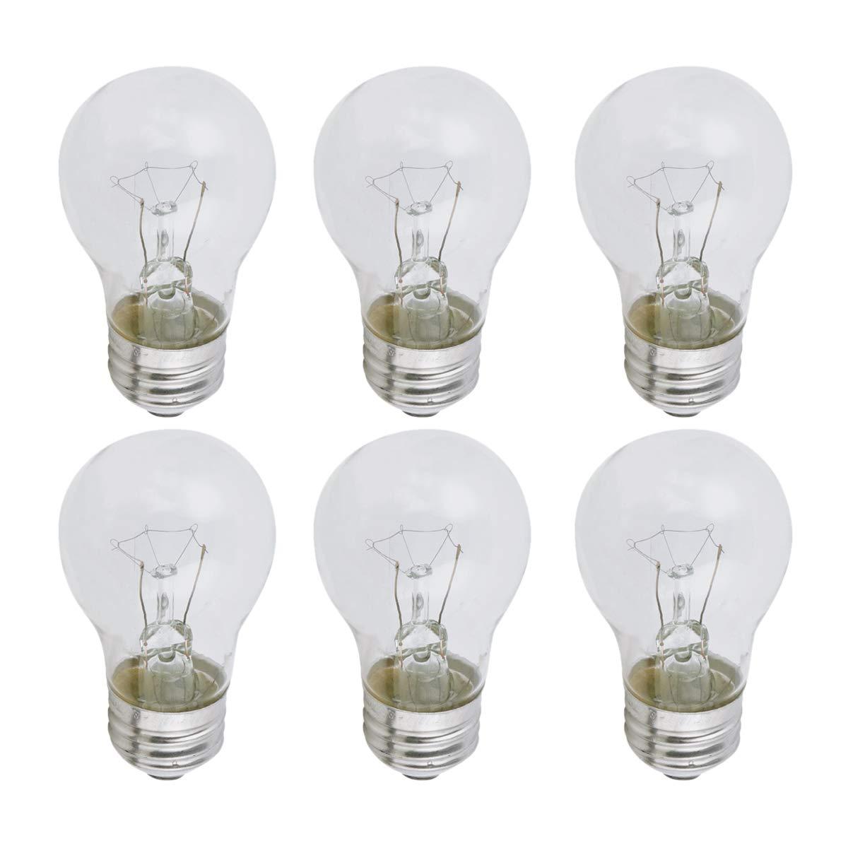 Clear A15 Incandescent Appliance Light Bulb, 40 Watt, 2700K Soft White, E26 Medium Base, 320 Lumens, 130V (6 Pack)