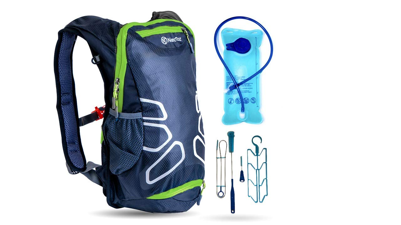 NeezToz Hydration Pack Backpack with 2L Hydration Bladder and Free Cleaning Kit Set 4 Pcs for Hiking,Running,Biking,Skiing and Cycling.