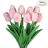 Fiori artificiali finti, tulipani in lattice, decorazione fai da te per matrimonio, stanza d'albergo, ecc., Pink, 10 pezzi