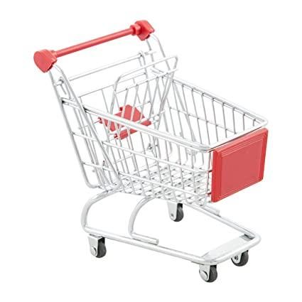 Mini Trolley Supermarket Shopping Cart Phone Holder Kid Pretend Toy Sky Blue