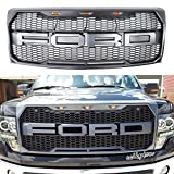 #3: For 2009-2014 Ford F-150 Raptor Type Grill Upper Gray W/Amber LED Lights XL STX FX4