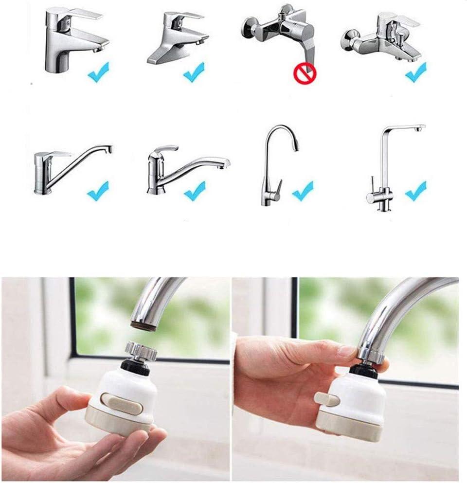 blanco ba/ño y ducha adaptador de dispositivo de ahorro de agua 3 engranajes ajustables boquilla de grifo para cocina Filtro giratorio de 360 /° a prueba de salpicaduras