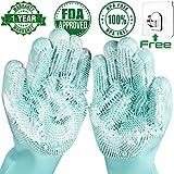 Sumail Magic Silicone Dishwashing Scrubber Dish Washing Sponge Rubber EZ Scrub Gloves Kitchen Cleaning, x-large Green