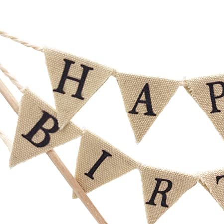 happy birthday cake topper banner handmade ivory pennant flag