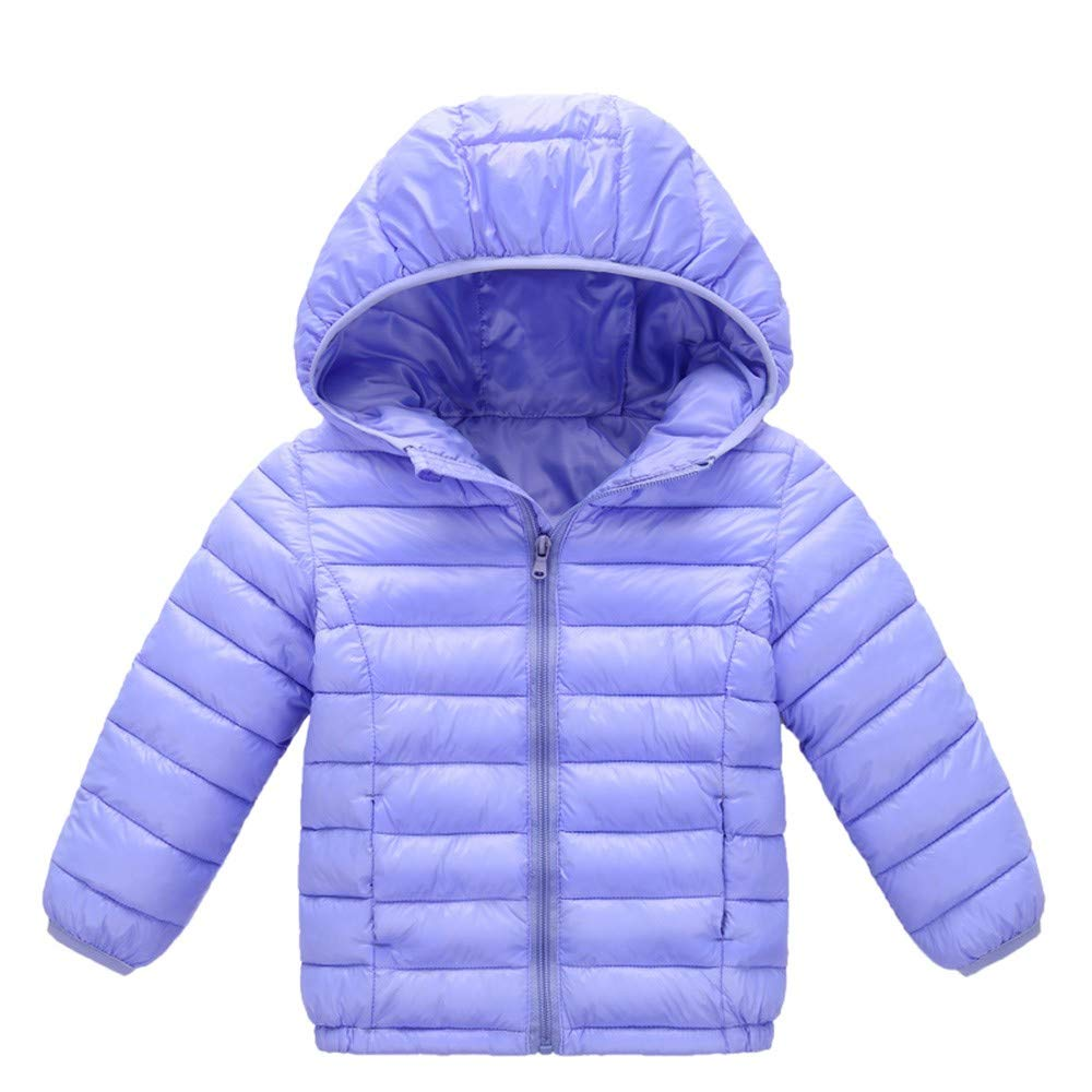 XILALU Baby Girl Boy Kids Light Down Jacket, Windproof Zipper Cable Hooded Coat Winter Warm Toddler Snowsuit(18M-8T)