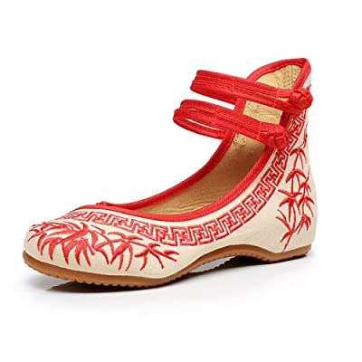 Bambou Broderie Femmes Chaussures Chinois Casual Appartements Semelle Souple Mary Janes Chaussures