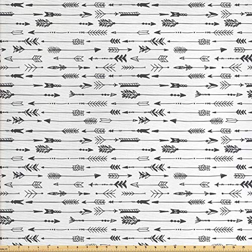 Lunarable Arrows Fabric by The Yard, Arrows Rustic Design Pattern in Vintage Artwork with Drawing Art Effect, Decorative Fabric for Upholstery and Home Accents, 2 Yards, White Charcoal (Fabric Yard Rustic By The)