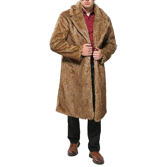 ... De Piel Sintética para Hombres Chaquetas Coat De Abrigo De Manga Larga Chaqueta De Piel De Solapa De Abrigos Largos: Amazon.es: Ropa y accesorios