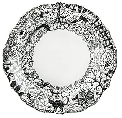 222 Fifth Wiccan Lace Dinner Plates Set of 4 Black White Halloween Cat Bat  sc 1 st  Amazon.com : halloween dinnerware sets - pezcame.com