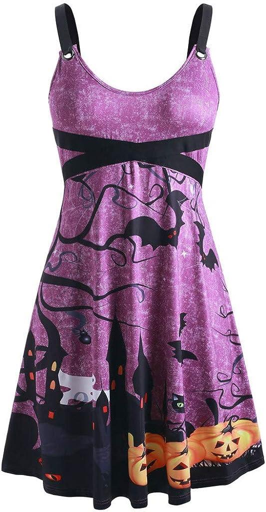 TOFOTL - Vestido de Noche para Mujer, Estilo de Vendimia, de Gran tamaño, sin Mangas, para Halloween, murciélago, Calabaza, Fiesta, Festival