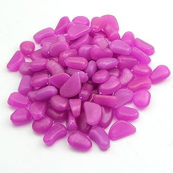 TININNA 50 Piedras Decorativas Luminosas Que Brillan en la Oscuridad,Guijarro Piedras Fluorescentes Luminoso Colores para Acuario pecera Jardin -Púrpura: ...