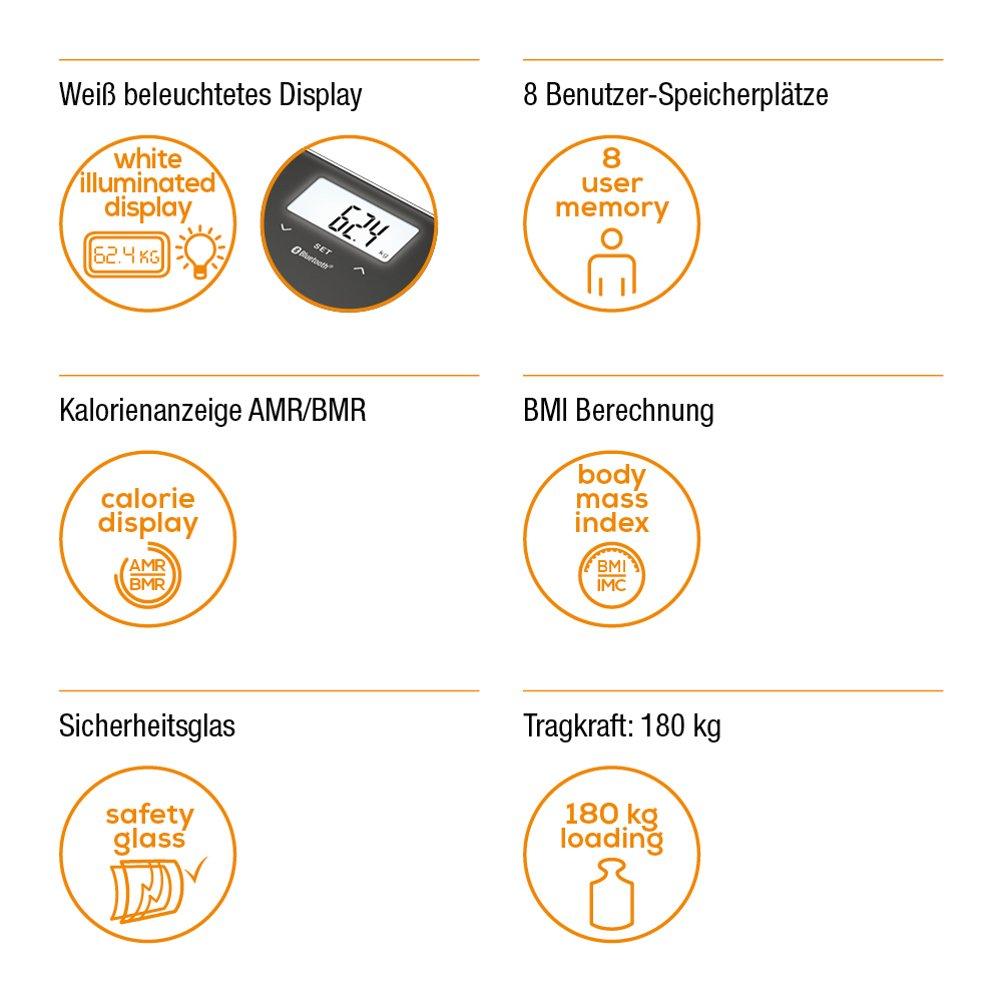 Beurer BF600 - Báscula digital diagnóstica con IMC, Bluetooth, LCD, 4 electrodos, con App en español, 1.55 kg, 30 x 30 x 2.1 cm, color antracita: Amazon.es: ...