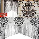 KICODE Black Skull Bat Web Curtain Valance Topper Shawl Halloween...