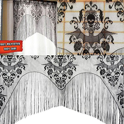 Kicode Black Skull Bat Web Curtain Valance Topper Shawl Halloween Haunted House Decorations Tassel