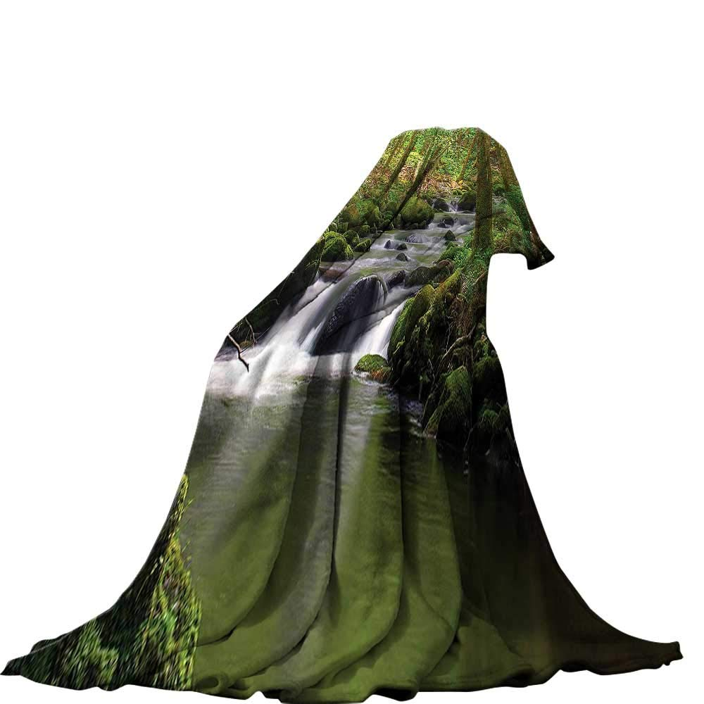 color04 60\ QINYAN-Home Soft Travel Blanket(60 x36  Summer Quilt Comforter Lake House Decor Stream Flowing in The Forest Over Mossy Rocks Tree Foliage Splash Summertime Hiking.