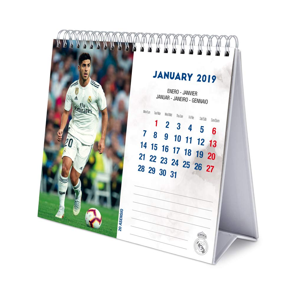 Amazon.com : Real Madrid Monthly Desk Calendar 2019 (January ...