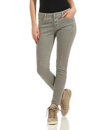2deb133c7f9d2 Zarmexx Femmes Jeans Chino Pantalon Stretch Denim Baggy Dames Maigres avec  Tube Avant Bouton Hipsters Slimline